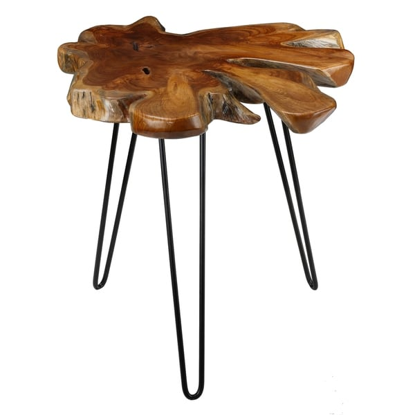 Root End Table: Shop Bare Decor Evan Solid Teak Root And Metal Accent End