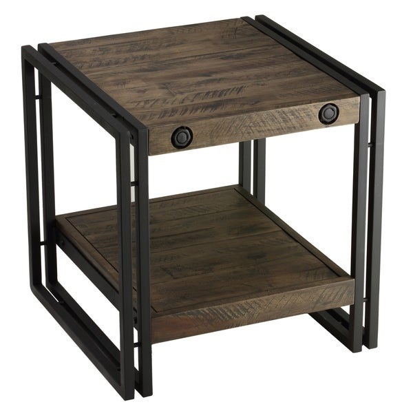 Cortesi Home Penni Dark Grey Solid Wood End Table with Black Metal Frame