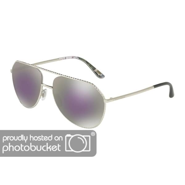 b6ab28b2a31 Shop Dolce   Gabbana Pilot DG2191 Women s Silver Frame Grey Mirror Milky  Blue Lens Sunglasses - Free Shipping Today - Overstock - 25481256