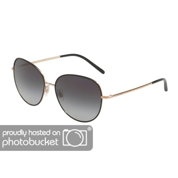 ddf2df2f150 Shop Dolce   Gabbana Irregular DG2194 Women s Matte Black Pink Gold Frame  Grey Gradient Lens Sunglasses - Free Shipping Today - Overstock - 25481260