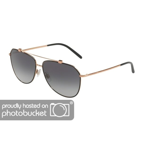 220c1068626ba Shop Dolce   Gabbana Pilot DG2190 Women s Matte Black Pink Gold Frame Light  Grey Gradient Black Lens Sunglasses - Free Shipping Today - Overstock -  25481263