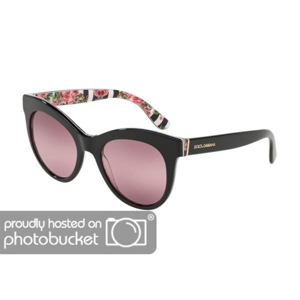 d4c24e5fb131 Shop Dolce   Gabbana Oval DG4311 Women s Black On Print Rose Frame Pink  Bigradient Purple Lens Sunglasses - Free Shipping Today - Overstock -  25481265