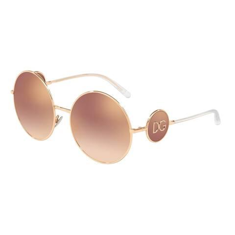 1a2a0b82aaee Dolce & Gabbana Round DG2205 Women's Pink Gold Frame Gradient Pink Mirror  Pink Lens Sunglasses