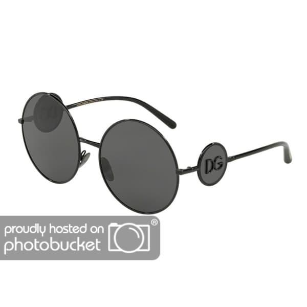 ab0e2c5ed932 Shop Dolce   Gabbana Round DG2205 Women s Black Frame Grey Lens Sunglasses  - Free Shipping Today - Overstock - 25481279