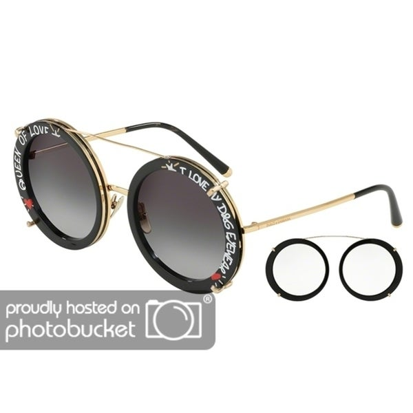 a04fb0d7f35d Shop Dolce   Gabbana Round DG2198 Women s Gold Black Frame Grey Gradient  Lens Sunglasses - Free Shipping Today - Overstock - 25481299
