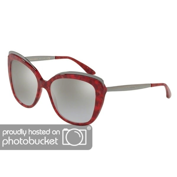 b929c3e44497 Shop Dolce   Gabbana Butterfly DG4332 Women s Cube Cherry Frame Grey Mirror  Silver Gradient Lens Sunglasses - Free Shipping Today - Overstock - 25481319