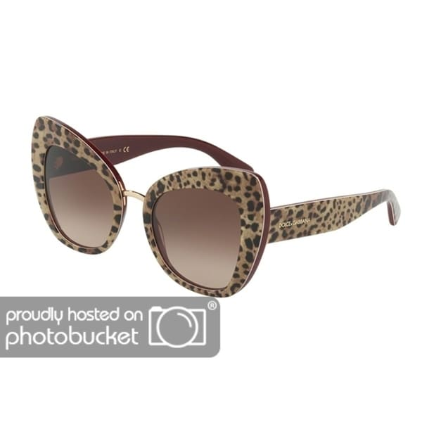 b6e48d6078ad Shop Dolce   Gabbana Butterfly DG4319F Women s Leo On Bordeaux Frame Brown  Gradient Lens Sunglasses - Free Shipping Today - Overstock - 25481337