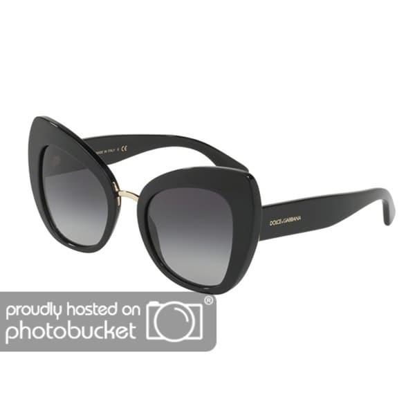 5697f8cd9b Shop Dolce   Gabbana Butterfly DG4319F Women s Black Frame Grey Gradient  Lens Sunglasses - Free Shipping Today - Overstock.com - 25481339