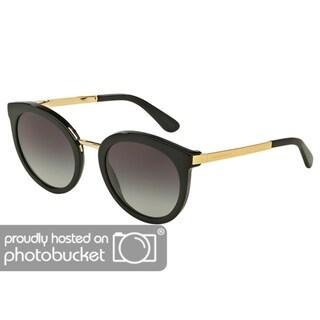Dolce & Gabbana Round DG4268F Women's Black Frame Grey Gradient Lens Sunglasses