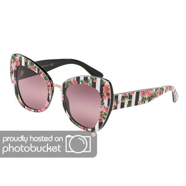 7d6462144cc Shop Dolce   Gabbana Butterfly DG4319 Women s Print Rose On Black Frame  Pink Bigradient Purple Lens Sunglasses - Free Shipping Today - Overstock -  25481360