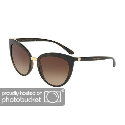 Dolce & Gabbana Cat Eye DG6113 Women's Havana Frame Brown Gradient Lens Sunglasses