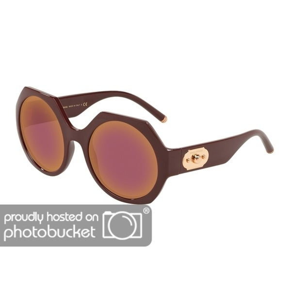 c596efa2980d Shop Dolce   Gabbana Irregular DG6120 Women s Bordeaux Frame Dark Violet  Mirror Red Lens Sunglasses - Free Shipping Today - Overstock - 25481386