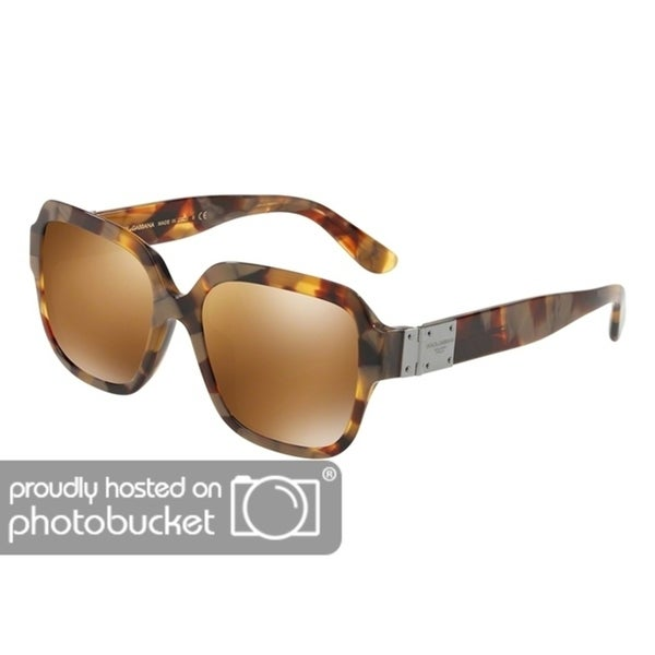 8134acfdfd6e Shop Dolce   Gabbana Square DG4336F Women s Havana Pearl Gold Frame Brown  Mirror Gold Lens Sunglasses - Free Shipping Today - Overstock - 25481387