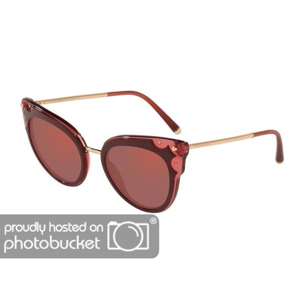 eb844f677b60 Shop Dolce   Gabbana Cat Eye DG4340 Women s Top Bordx On Dark Pink Transp  Frame Dark Violet Mirror Red Lens Sunglasses - Free Shipping Today -  Overstock - ...
