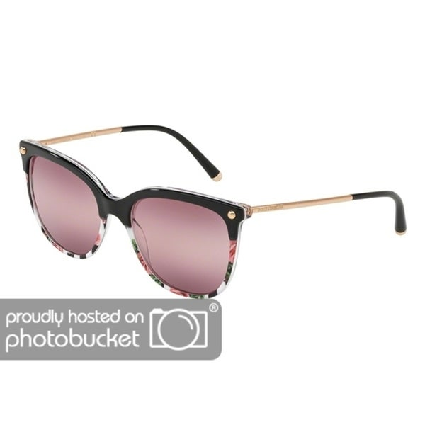 09ccff71a38f Shop Dolce   Gabbana Square DG4333F Women s Top Black On Print Rose Stripe  Frame Pink Bigradient Purple Lens Sunglasses - Free Shipping Today -  Overstock - ...
