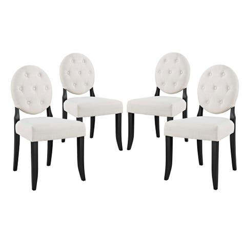 Button Dining Side Chair Upholstered Fabric Set of 4