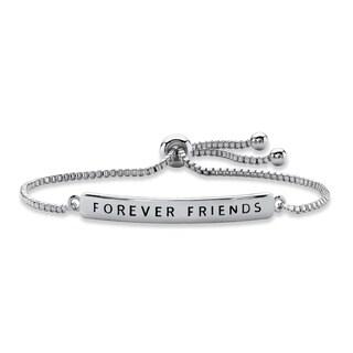 """Silver Tone """"Forever Friends"""" Drawstring Bracelet 10"""" Adjustable"""