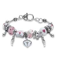 """Silver Tone Nurse Charm Bracelet Lucite 7.5"""" plus 1"""" extension"""