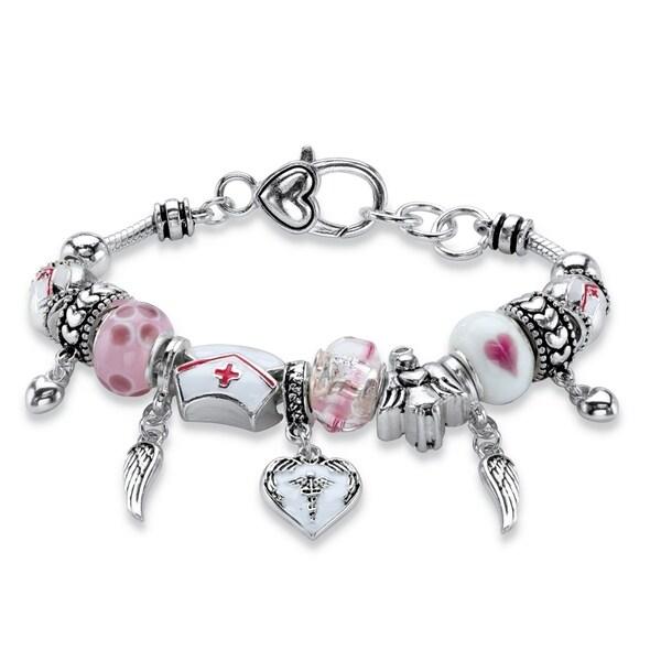 Silver Tone Nurse Charm Bracelet Lucite 7 5 Plus 1 Extension