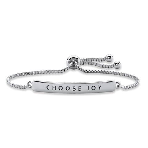 "Silver Tone ""Choose Joy"" Drawstring Bracelet 10"" Adjustable"