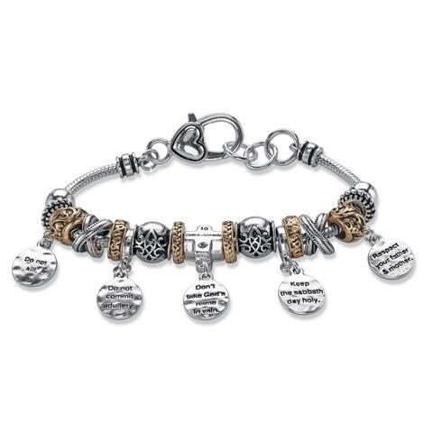 """Silver Tone 10 Commandments Charm Bracelet Lucite 7.5"""" plus 1"""" ext"""