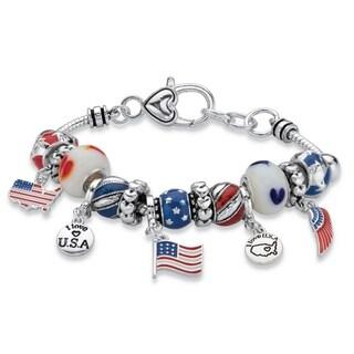 """Silver Tone American Flag Charm Bracelet Lucite 7.5"""" plus 1"""" extension"""