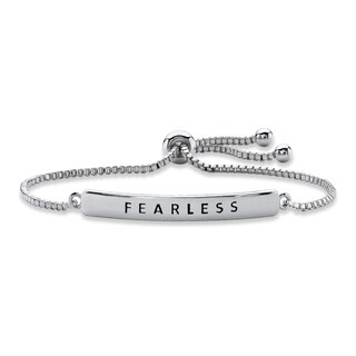 "Silver Tone ""Fearless"" Drawstring Bracelet 10"" Adjustable"