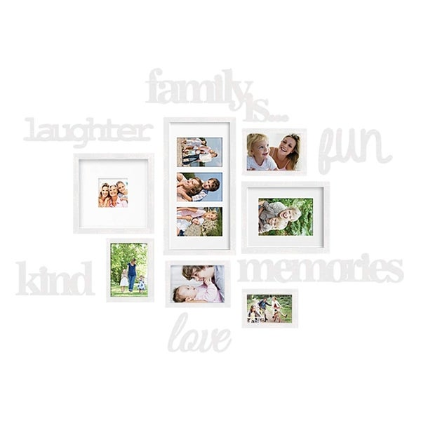 Jerry & Maggie-White Combination Plaque Gallery College picture Frame with Hanging Template & Wall Decoration Mounting Design