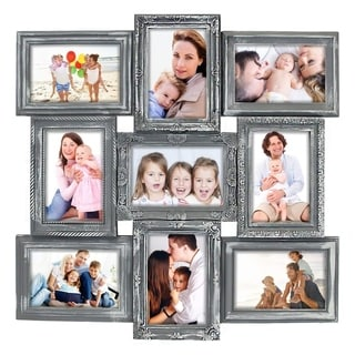 "Jerry & Maggie - Photo Frame 20""X20"" Gray Curved Square Shape Photo Picture Frame"