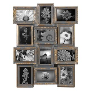 Jerry & Maggie - Photo Frame 23X18 Gray Gold Finish Curved PVC Picture Frame Selfie Gallery Collage Wall Hanging for 6x4 Photo