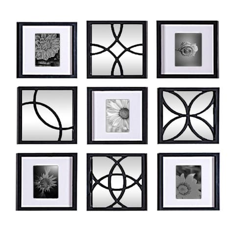 Jerry & Maggie - Total 9 Pieces Photo Frame & Wall Mirror - Wall Decor Combination - Black PVC Picture Frame