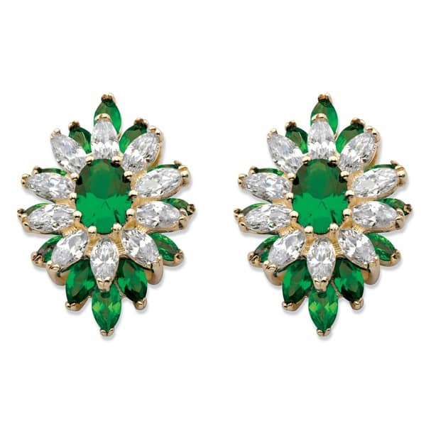e1441a363 Shop Gold-Plated Flower Earrings Oval Cut Simulated Emerald (8 1/10 ...