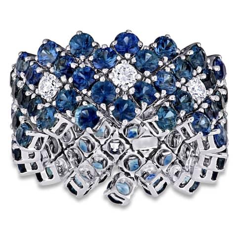 Miadora 18k White Gold Blue Sapphire and 3/4ct TDW Diamond Full-Eternity Band
