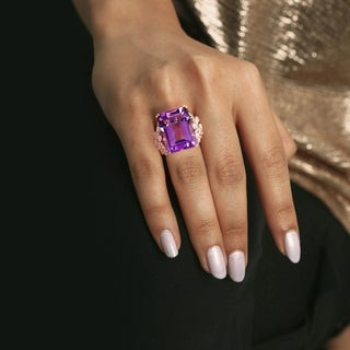 Miadora 14k Rose Gold Octagon-Cut Amethyst and 1 3/4ct TDW Diamond Floral Cocktail Ring