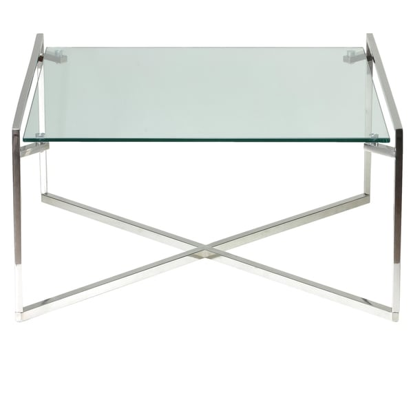 Shop Cortesi Home Celia Glass Stainless Steel Coffee Table