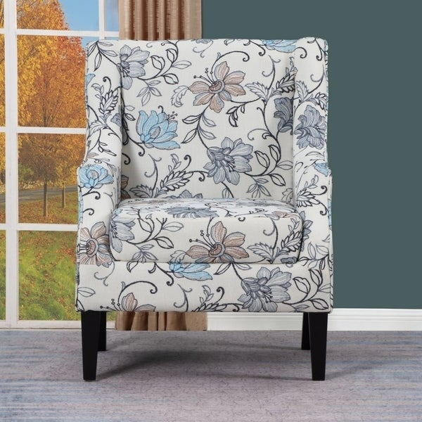 Shop Aydin Blue/ White Floral Upholstered Living Room Chair - Free ...