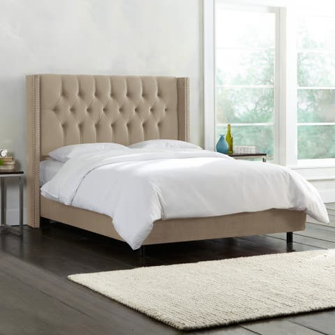 Skyline Furniture Diamond Tufted Wingback Nail Button Bed in Mystere Velvet
