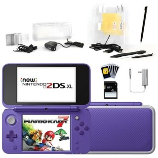 New Nintendo 2DSXL with Mario Kart 7 in Purple with Accessories Kit