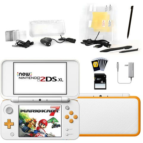 New Nintendo 2DSXL with Mario Kart 7 in White with Accessories Kit - N/A - N/A