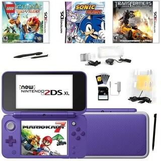 New Nintendo 2DSXL with Mario Kart 7 in Purple with Games and Access.