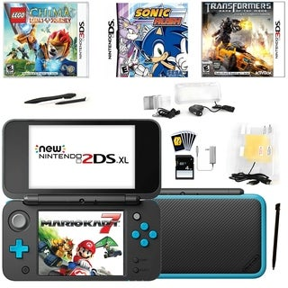 New Nintendo 2DSXL with Mario Kart 7 in Black with Games and Access.