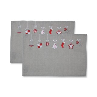 Hanging Christmas Ornaments Placemat Grey/Red (Set of 2)