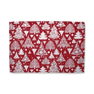 Metallic Christmas Trees Placemat Red (Set of 2)