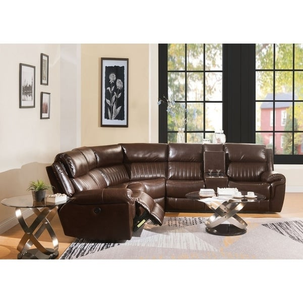 Kupiskis Sectional with Power Recliner & USB Power in Leather Gel