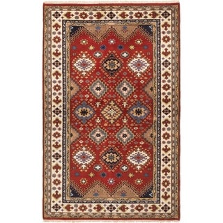 ECARPETGALLERY  Hand-knotted Royal Kazak Dark Copper Wool Rug - 5'1 x 8'0