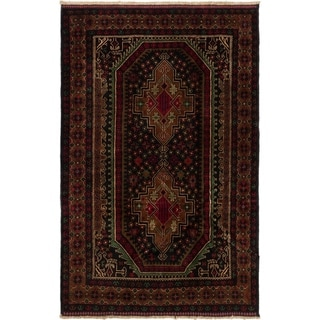 ECARPETGALLERY  Hand-knotted Royal Baluch Black, Brown Wool Rug - 3'11 x 6'2