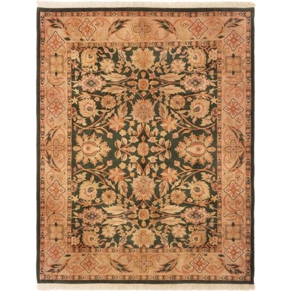 ECARPETGALLERY Hand-knotted Royal Mahal Dark Green Wool Rug - 8'1 x 9'11
