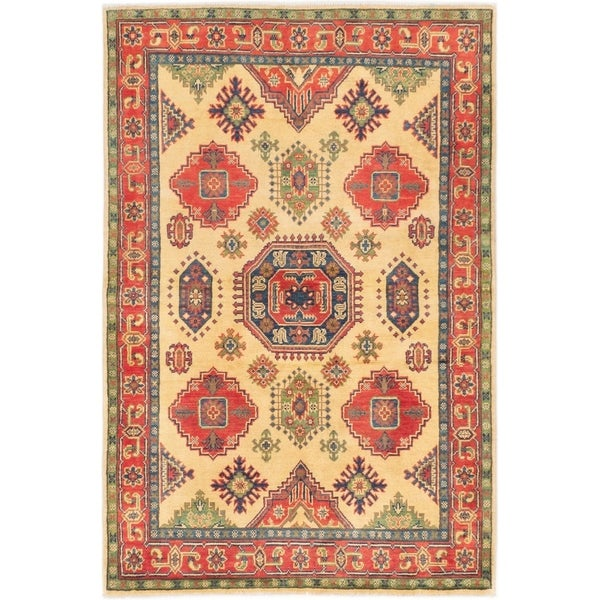 ECARPETGALLERY Hand-knotted Uzbek Gazni Ivory Wool Rug - 4'0 x 6'1