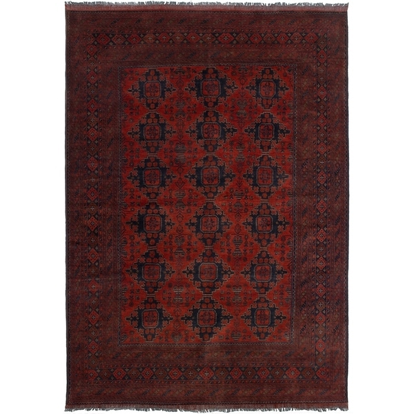 ECARPETGALLERY Hand-knotted Finest Khal Mohammadi Red Wool Rug - 6'8 x 9'9
