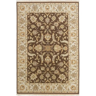 ECARPETGALLERY  Flat-weave Lahor Finest Dark Brown Wool Sumak - 5'8 x 8'8